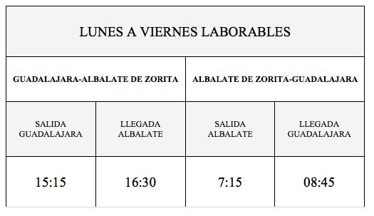 Horarios de Autobuses de Albalate de Zorita - Guadalajara